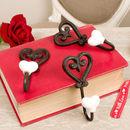 Set Of Three Cast Iron Heart Hooks