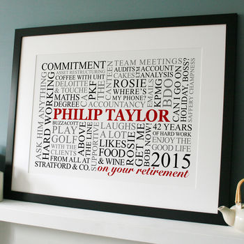 black frame - white print with red, black & grey text