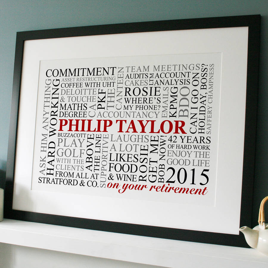 personalised retirement word art by cherry pete