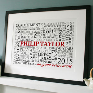 Personalised Retirement Word Art - dates & special occasions