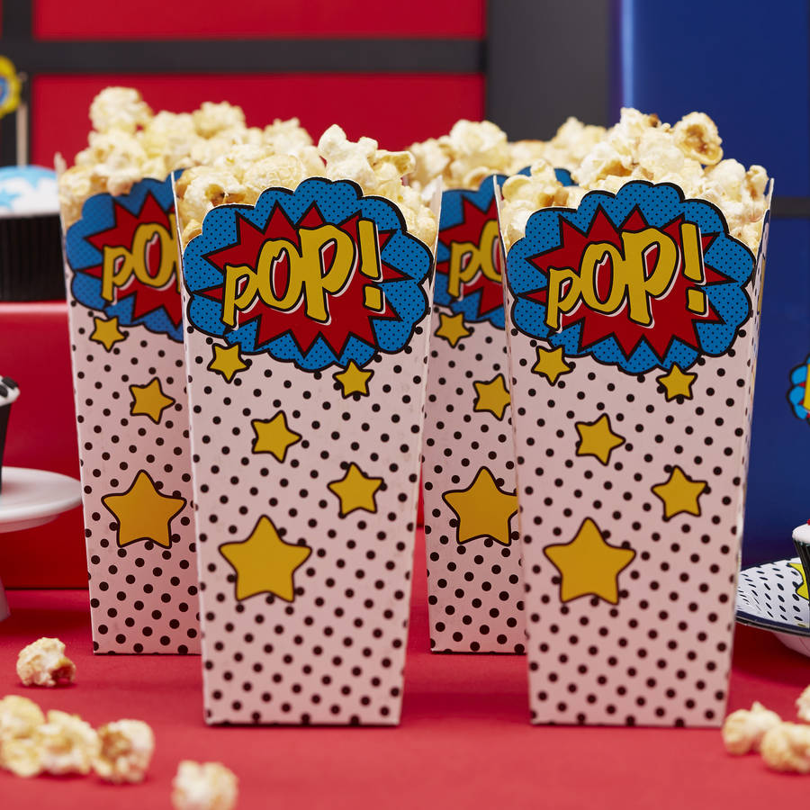 Comic Superhero Party Popcorn Boxes