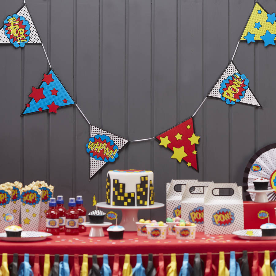 comic superhero party bunting by ginger ray. Black Bedroom Furniture Sets. Home Design Ideas