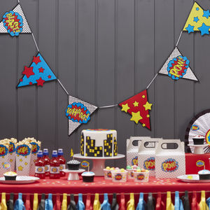 Comic Superhero Party Bunting - children's room accessories