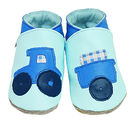 Soft Leather Baby Shoes Tractor Baby Blue