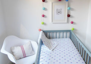 Cloud Design Fitted Cot Bed Sheet - baby's room