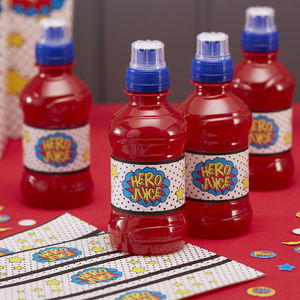 Comic Superhero Party Hero Juice Labels
