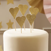 Sparkle Glitter Gold Heart Cup Cake Toppers - food & drink