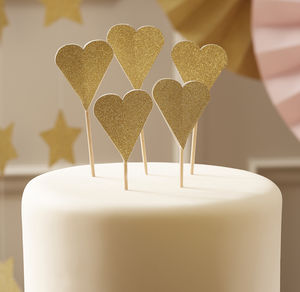 Sparkle Glitter Gold Heart Cup Cake Toppers