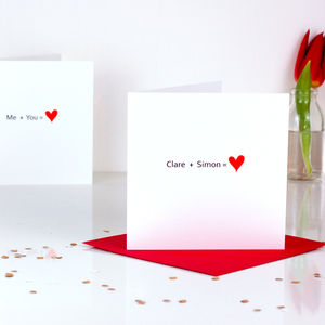 Addition Personalised Valentines Card - valentine's cards