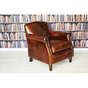 Antique Leather Wingback Armchair - furniture