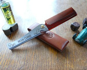 Man Comb With Leather Case