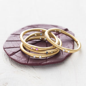 Fine July Ruby Amethyst Birthstone Gold Stacking Ring