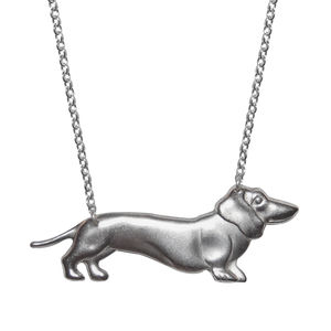 Silver Dotty Dachshund Necklace