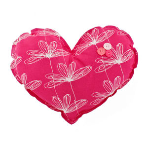Etched Floral Large Heart Decoration Cushion - baby's room
