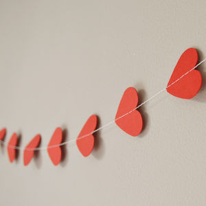 Red Valentines Hearts Paper Garland - room decorations