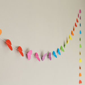 Rainbow Valentines Hearts Paper Garland - room decorations