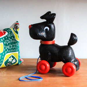 Black Scotty Dog Pull Along Toy - toys & games