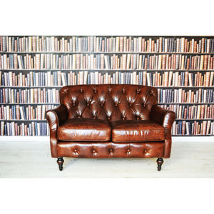 Leather Chesterfield Buttoned Two Seater Sofa - living room