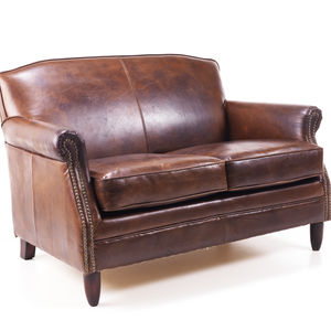 Leather Chesterfield Two Seater Sofa - living room