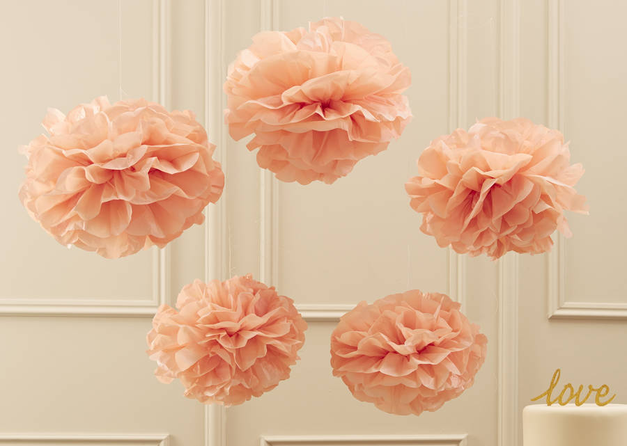 pink tissue paper pom poms Add a touch of charm to a birthday party or baby shower with these light pink tissue paper puffs for light pink party supplies, shop michaelscom.