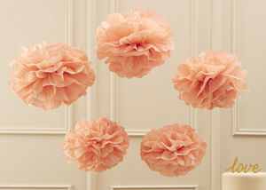 Pastel Pink Tissue Paper Pom Poms - hanging decorations