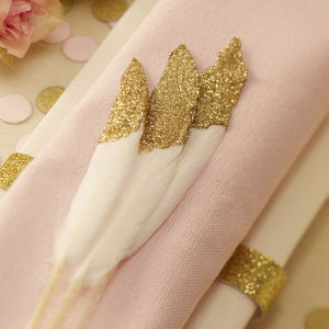 Gold Glitter Dipped Feathers - table decorations