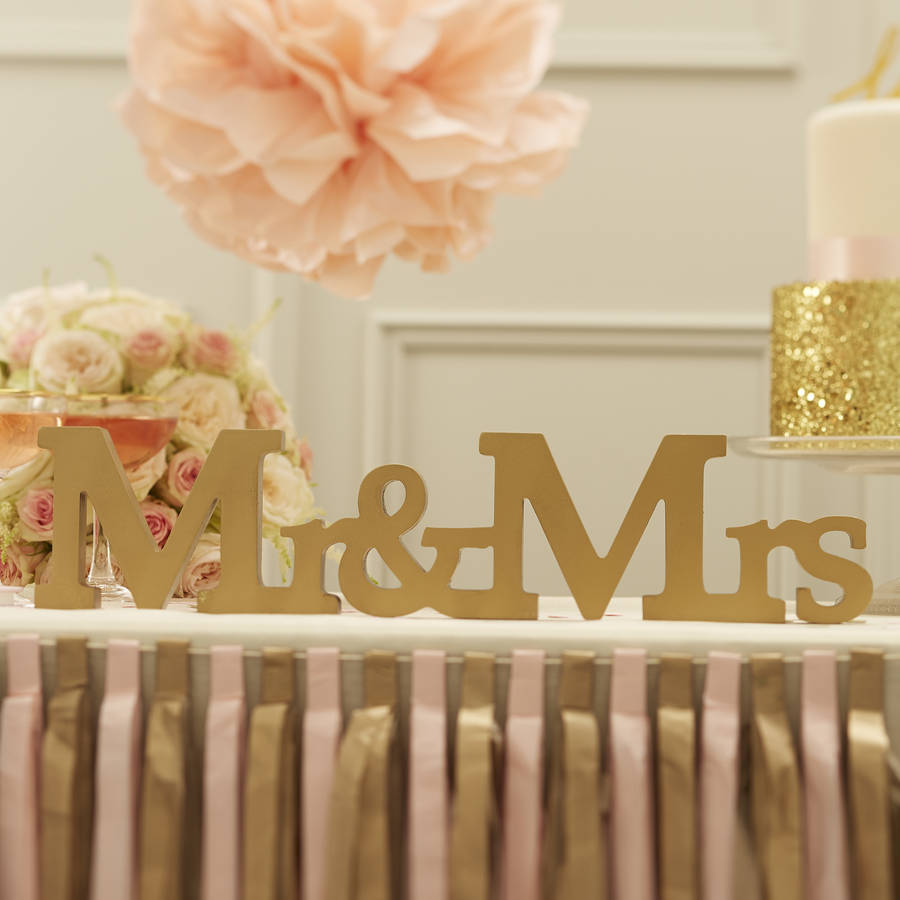 Mr And Mrs Gold Wooden Wedding Sign