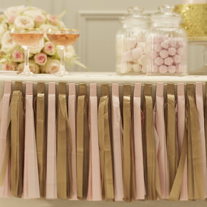 Pastel Pink And Gold Tassel Garland Decoration - outdoor decorations