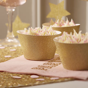 Gold Glitter Sparkle Cupcake Wraps - cake decoration