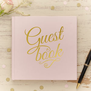 Pastel Pink And Gold Foiled Guest Book - albums & guest books