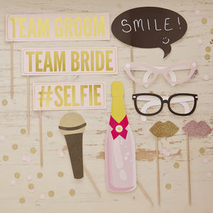 Pastel, Gold Foiled And Glitter Photo Booth Props Kit - room decorations
