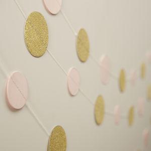 Gold Sparkle And Pastel Pink Hanging Confetti Garland - room decorations