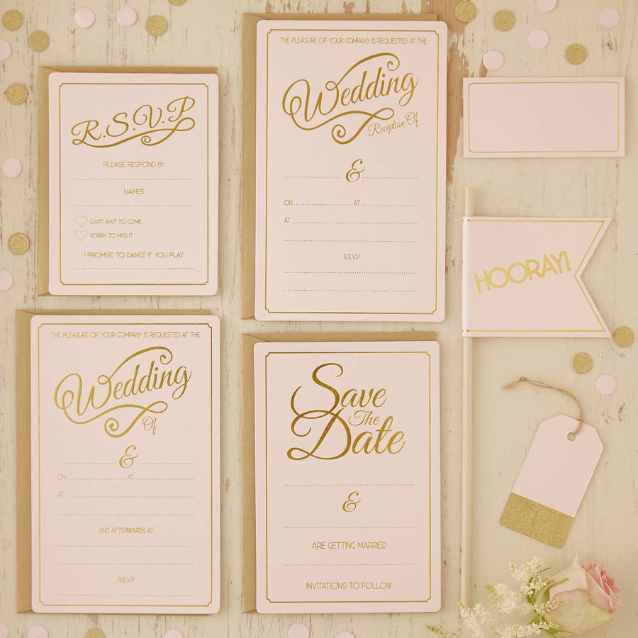 pink and gold wedding invitations set - new wedding, Wedding invitations
