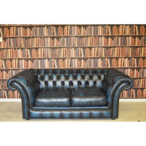 Vintage Leather Chesterfield Two Seater Sofa - furniture