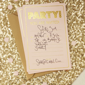 Pastel Pink And Gold Foiled Party Invitations