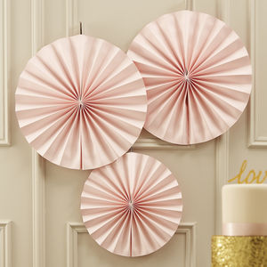 Pastel Pink Circle Fan Decorations - bunting & garlands