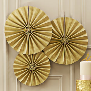 Gold Sparkling Circle Fan Decorations - children's parties