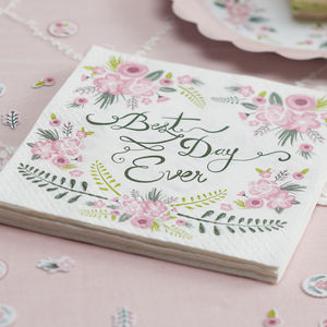 Floral Design 'Best Day Ever' Paper Napkins - baby & child sale