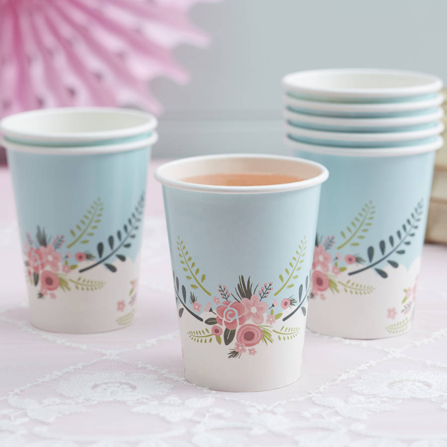 floral design paper cups by ginger ray