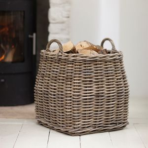 Tapered Rattan Log Basket - christmas decorations