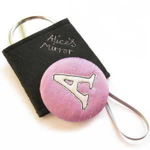 Initial Freehand Embroidered Silk Handbag Mirror
