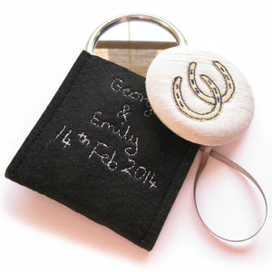 Silk Wedding Favour Freehand Embroidered Handbag Mirror