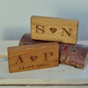 Engraved Solid Oak Block With Heart - 5th anniversary: wood