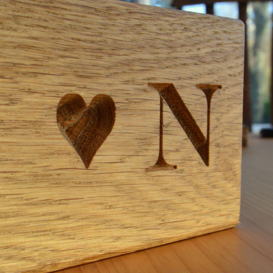 Engraved Solid Oak Block With Heart By Winning Works