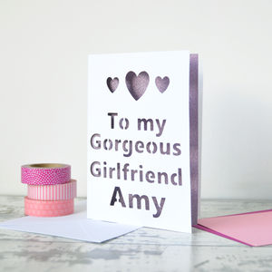 Personalised Hearts Glitter Cut Out Card