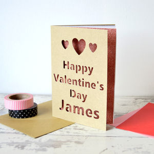 Personalised Hearts Glitter Cut Out Card - cards & wrap
