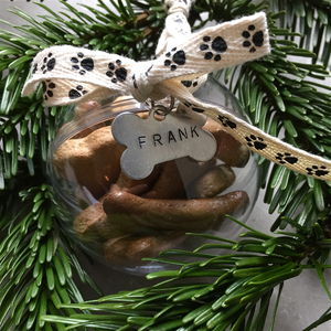 Personalised Dog Treat Christmas Bauble - new in pets