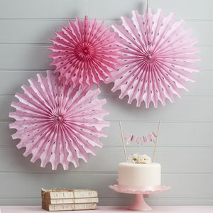 Pink Tissue Paper Fan Decorations