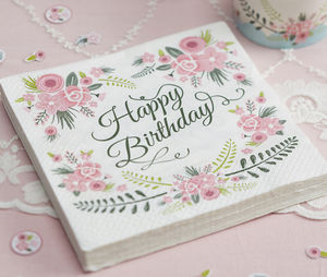 Floral Design 'Happy Birthday' Paper Napkins - tableware