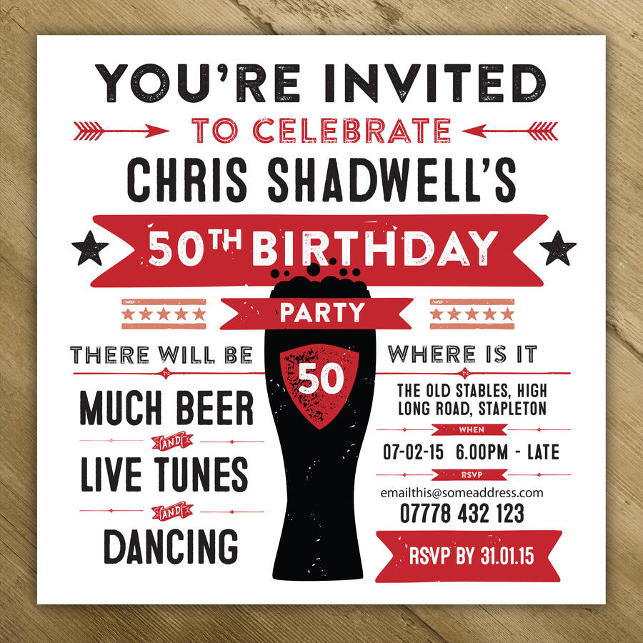 Personalised Mens Birthday Party Invites